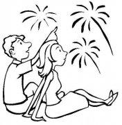 人物简笔画:看烟花的情侣