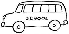 小学生学校校车简笔画图片