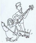 拉二胡与弹吉他的夫妻简笔画图片