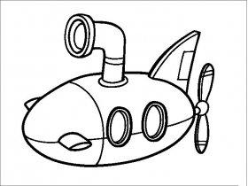 卡通潜水艇简笔画