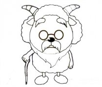 慢羊羊村长简笔画