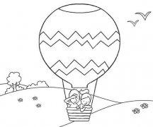 关于人坐在热气球的简笔画图片