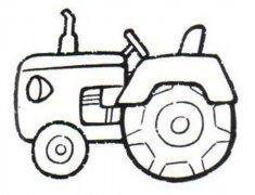 儿童轮式拖拉机简笔画图片