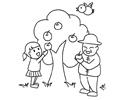 小朋友和爷爷在苹果树下摘苹果的简笔画图片