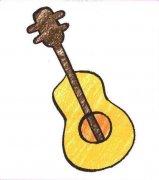 儿童带颜色的吉他简笔画图片