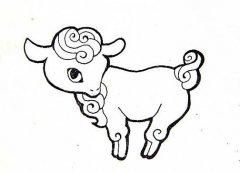 2015羊年吉祥小羊简笔画