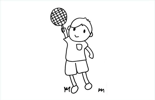 在打羽毛球的小男孩简笔画图片
