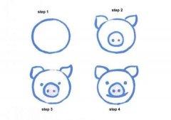 手绘猪头简笔画教程