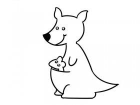 袋鼠妈妈简笔画