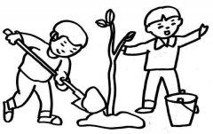 植树节人物场景简笔画图片:植树的小学生