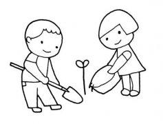 儿童植树节简笔画图片:浇水种树