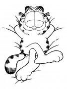 幼儿卡通人物简笔画图片:慵懒的加菲猫
