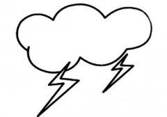 乌云闪电简笔画图片