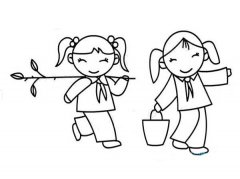 小学生植树节简笔画图片:快乐植树