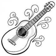 漂亮的大吉他简笔画图片