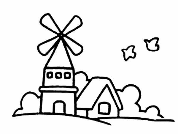 风车城堡简笔画