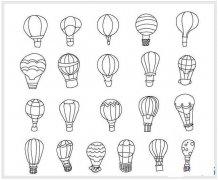 各种漂亮的热气球简笔画图片大全