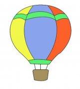 儿童带颜色的热气球简笔画图片
