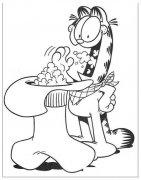 贪吃的加菲猫简笔画图片