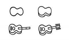 吉他简笔画画法步骤:怎么画吉他