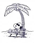 史努比海边度假简笔画图片