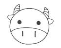 画一个可爱的动物气球简笔画 -- 小牛