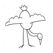 幼儿园丹顶鹤简笔画图片