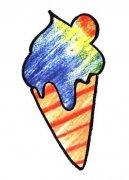 小学生带颜色的冰激凌简笔画图片