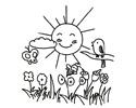 太阳、小鸟、蜜蜂上演风和日丽鸟语花香的简笔画图片