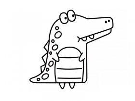 卡通鳄鱼简笔画 简单又好看
