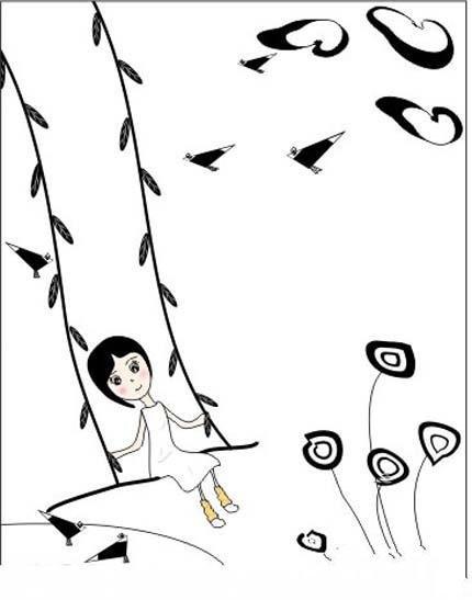 草地上的秋千简笔画图片(唯美)