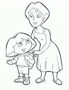 朵拉和妈妈简笔画图片
