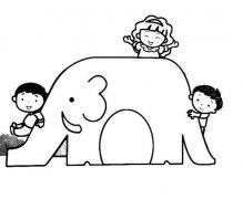 小孩玩滑滑梯简笔画图片