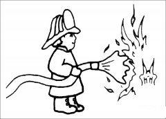 消防员灭火简笔画