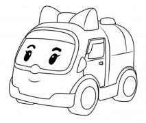变形警车安巴简笔画图片