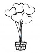 爱心热气球简笔画图片