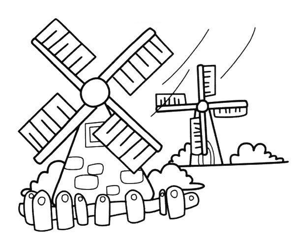 漂亮的风车房子简笔画图片