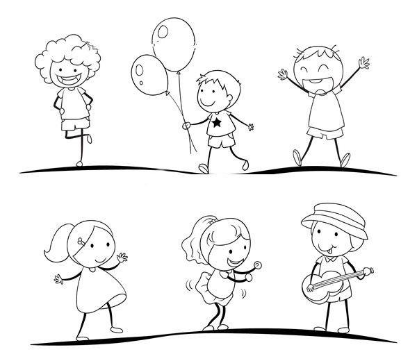 运动中的男孩女孩简笔画图片4