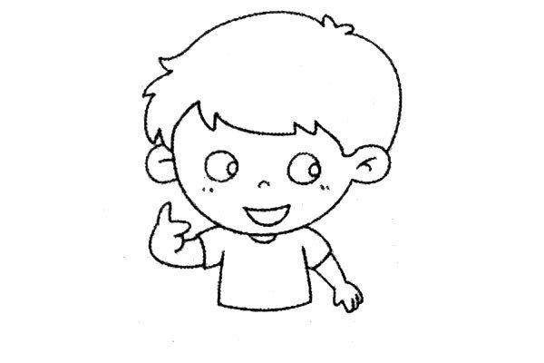 7.画出男孩的另一只手臂。