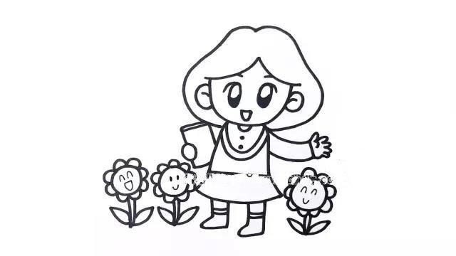 """5.在老师的身边画出一些花朵,因为我们经常把老师比喻为""""园丁"""",而花朵则象征着小朋友们。"""