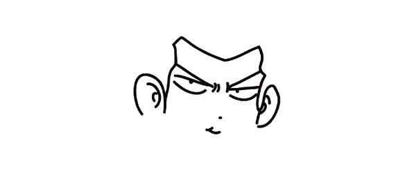 3.给他画上两只大耳朵。