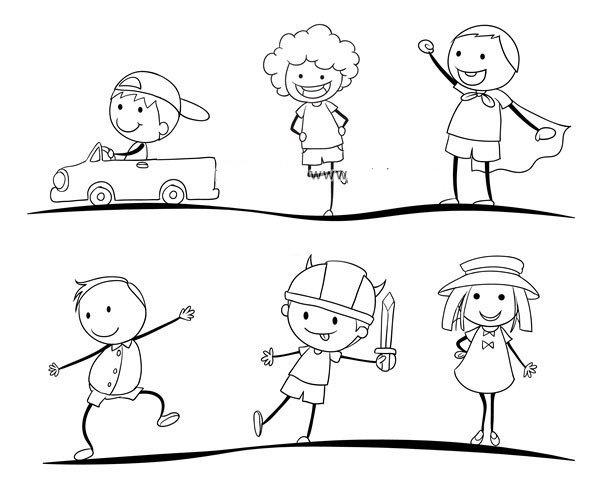 运动中的男孩女孩简笔画图片7