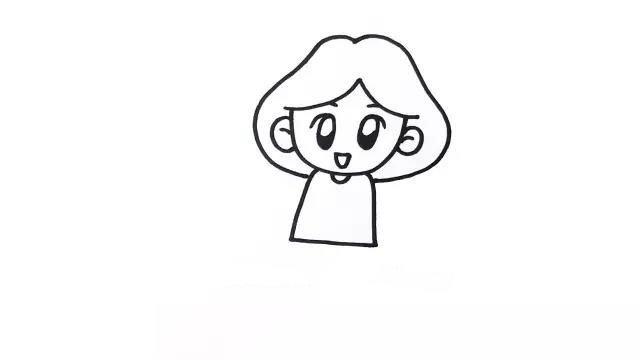 3.接着再画出发型,这是因为头发和身体有遮挡关系。