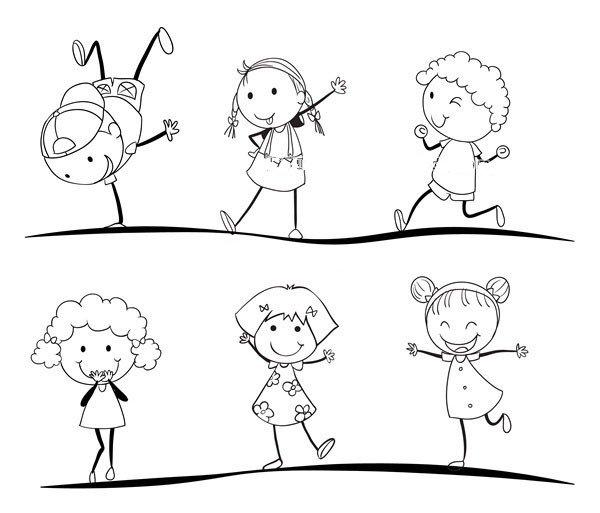 运动中的男孩女孩简笔画图片9