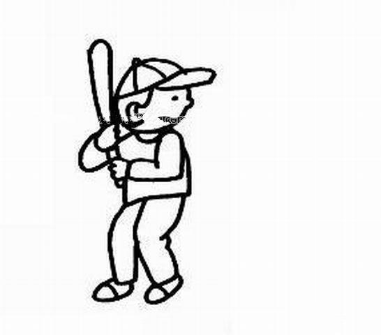 打棒球的小男孩