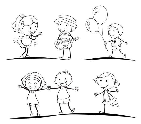 运动中的男孩女孩简笔画图片5