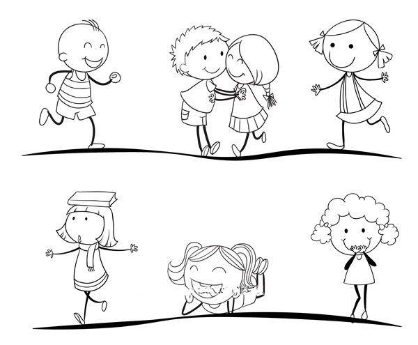 运动中的男孩女孩简笔画图片3