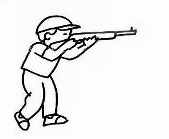 射击的小男孩