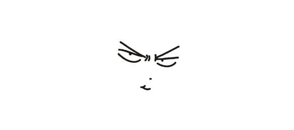 1.先勾画樱木花道的眉毛、眼睛、鼻子和嘴巴线条。