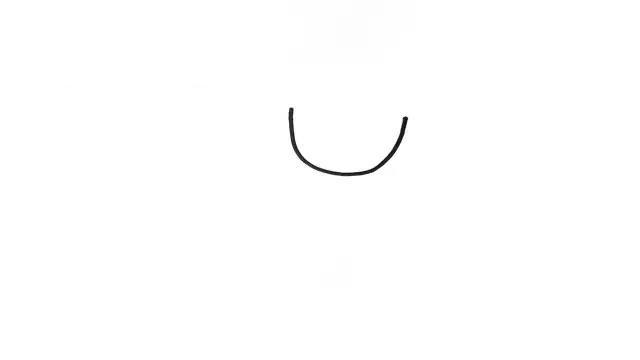 1.我们先从人物的头部开始画起,用一根弧线画出脸部的造型。